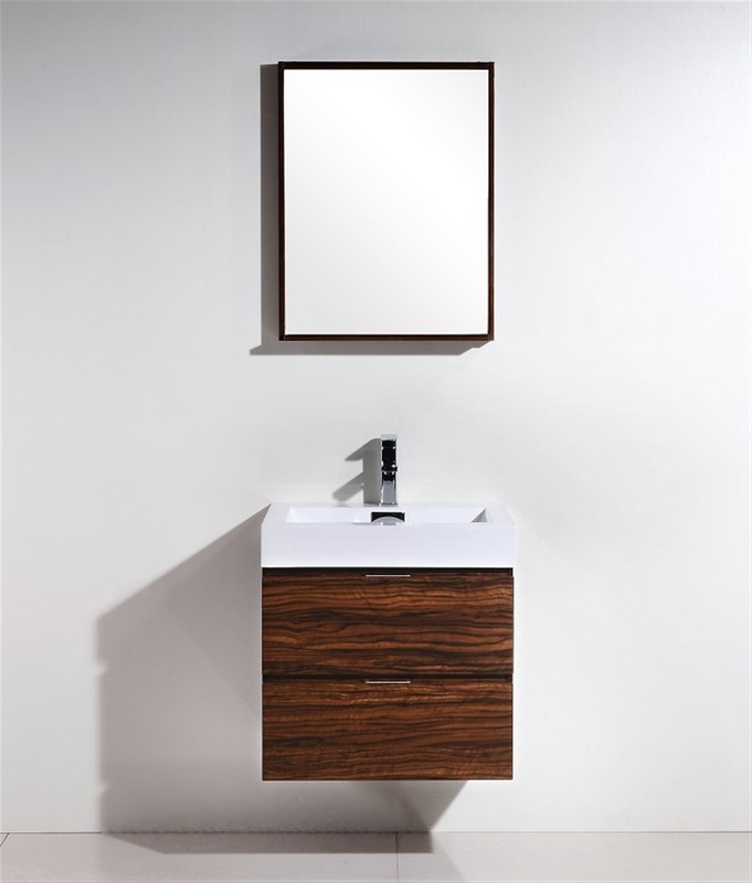 "Kubebath Bliss 24"" Walnut Wall Mount Modern Bathroom Vanity"