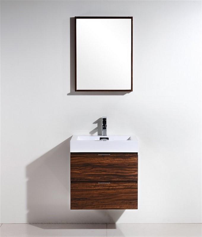 "Modern Lux 24"" Walnut Wall Mount Modern Bathroom Vanity"