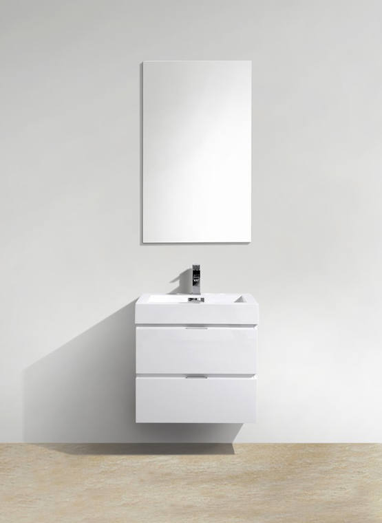 "Modern Lux 24"" High Gloss White Wall Mount Modern Bathroom Vanity"