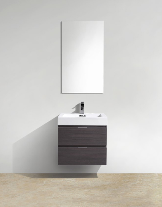 "Kubebath Bliss 24"" High Gloss Gray Oak Wall Mount Modern Bathroom Vanity"