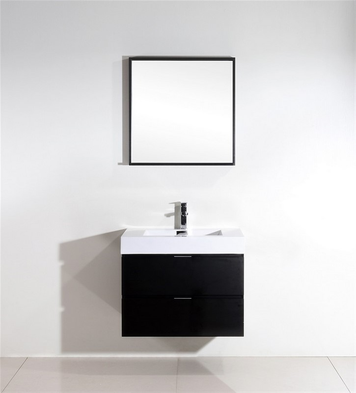 "Kubebath Bliss 30"" Black Wall Mount Modern Bathroom Vanity"