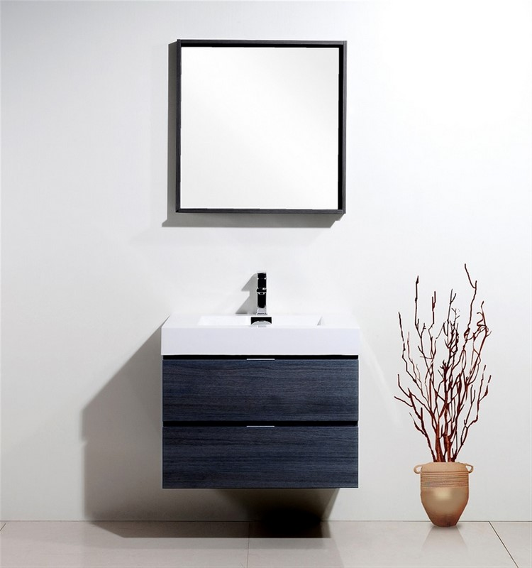 "Kubebath Bliss 30"" Gray Oak Wall Mount Modern Bathroom Vanity"