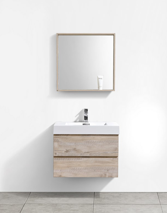 "Modern Lux 30"" Natural Wood Wall Mount Modern Bathroom Vanity"
