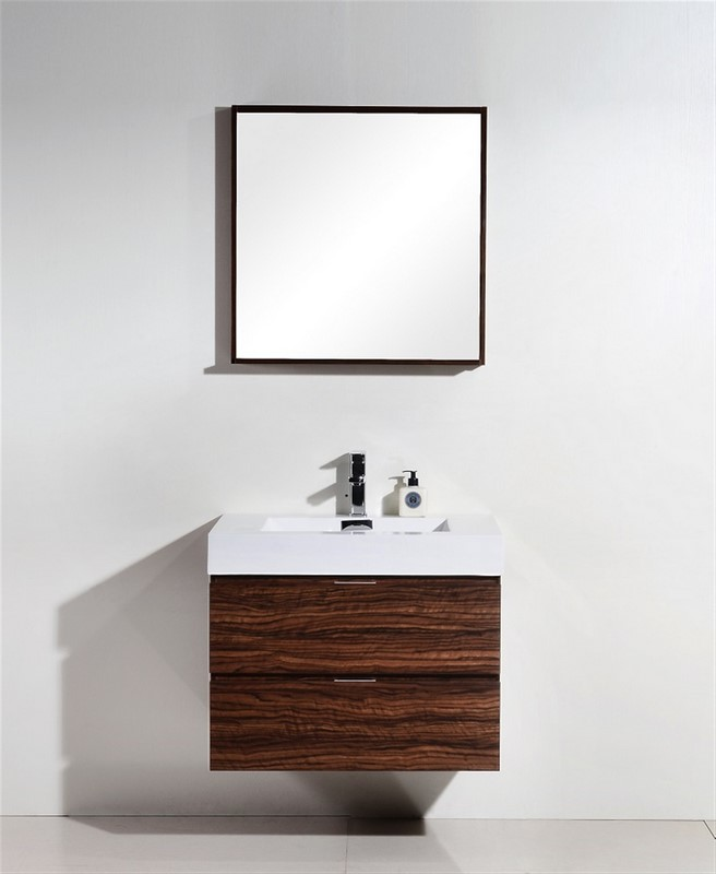 "Modern Lux 30"" Walnut Wall Mount Modern Bathroom Vanity"