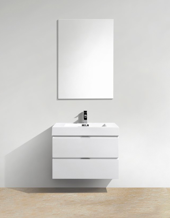 "Kubebath Bliss 30"" High Gloss White Wall Mount Modern Bathroom Vanity"