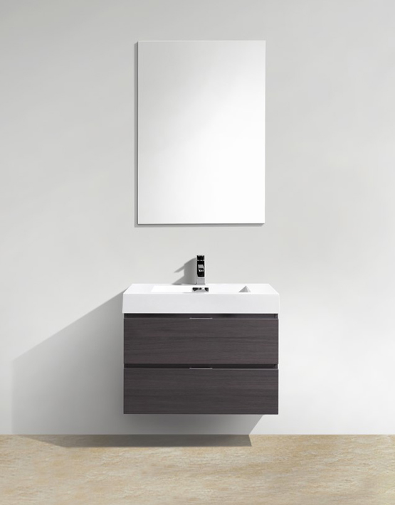"Kubebath Bliss 30"" High Gloss Gray Oak Wall Mount Modern Bathroom Vanity"