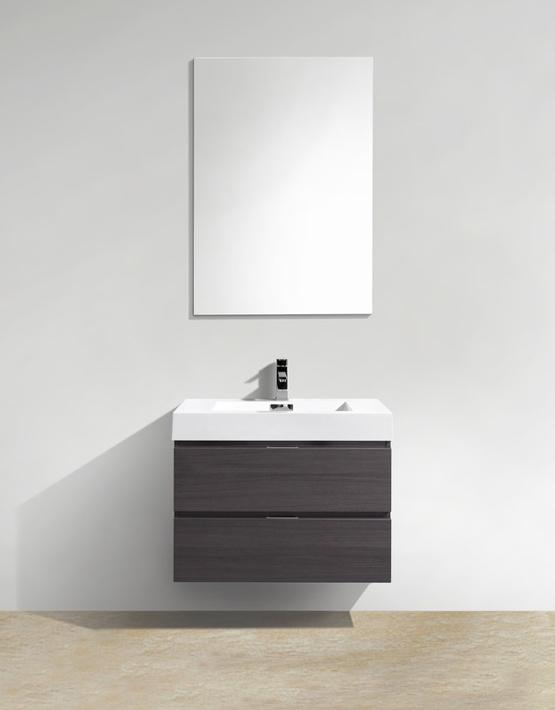 "Modern Lux 30"" High Gloss Gray Oak Wall Mount Modern Bathroom Vanity"