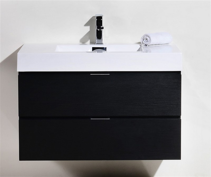 "Kubebath Bliss 36"" Black Wall Mount Modern Bathroom Vanity"