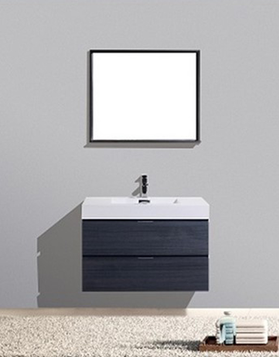 "Kubebath Bliss 36"" High Gloss Gray Oak Wall Mount Modern Bathroom Vanity"