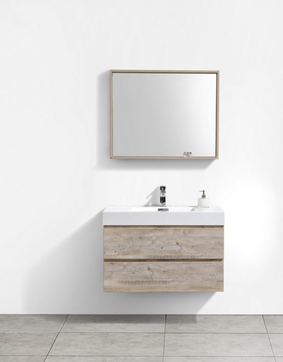 "Modern Lux 36"" Natural Wood Wall Mount Modern Bathroom Vanity"