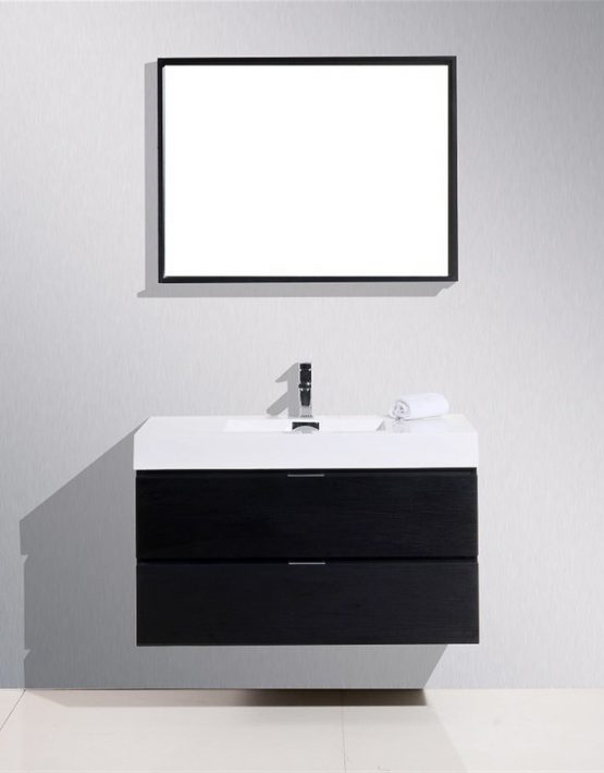 "Kubebath Bliss 40"" Black Wall Mount Modern Bathroom Vanity"