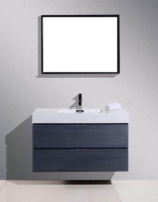 "Kubebath Bliss 40"" Gray Oak Wall Mount Modern Bathroom Vanity"