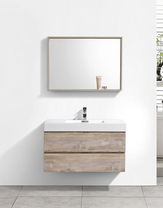 "Modern Lux 40"" Nature Wood Wall Mount Modern Bathroom Vanity"