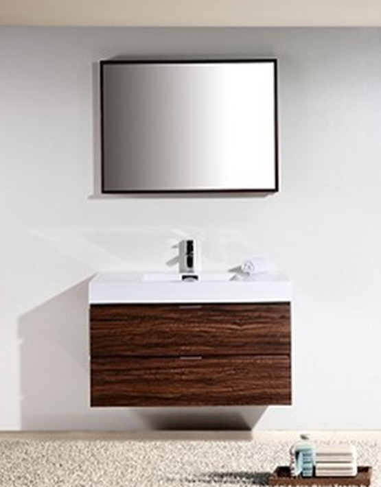 "Kubebath Bliss 40"" Walnut Wall Mount Modern Bathroom Vanity"