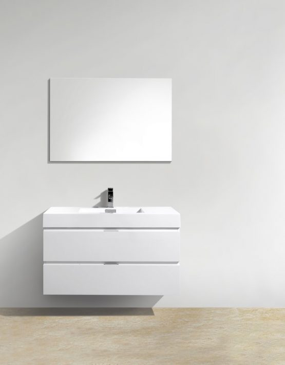 "Kubebath Bliss 40"" High Gloss White Wall Mount Modern Bathroom Vanity"
