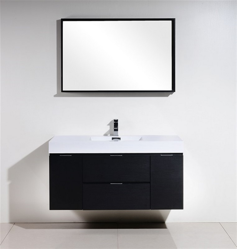 "Modern Lux 48"" Black Wall Mount Modern Bathroom Vanity"
