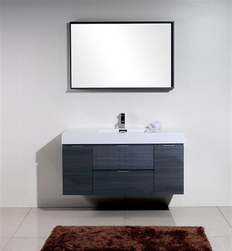 "Kubebath Bliss 48"" Gray Oak Wall Mount Modern Bathroom Vanity"