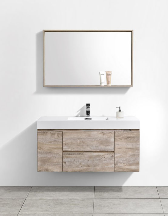 "Modern Lux 48"" Nature Wood Wall Mount Modern Bathroom Vanity"