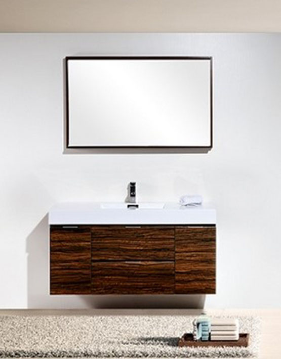 "Kubebath Bliss 48"" Walnut Wall Mount Modern Bathroom Vanity"