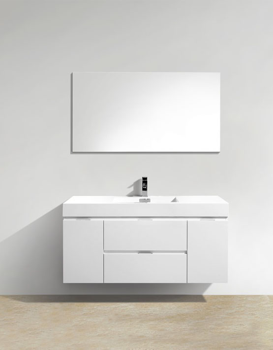"Kubebath Bliss 48"" High Gloss White Wall Mount Modern Bathroom Vanity"