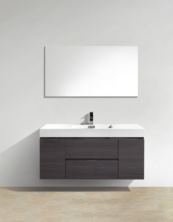"Kubebath Bliss 48"" High Gloss Gray Oak Wall Mount Modern Bathroom Vanity"