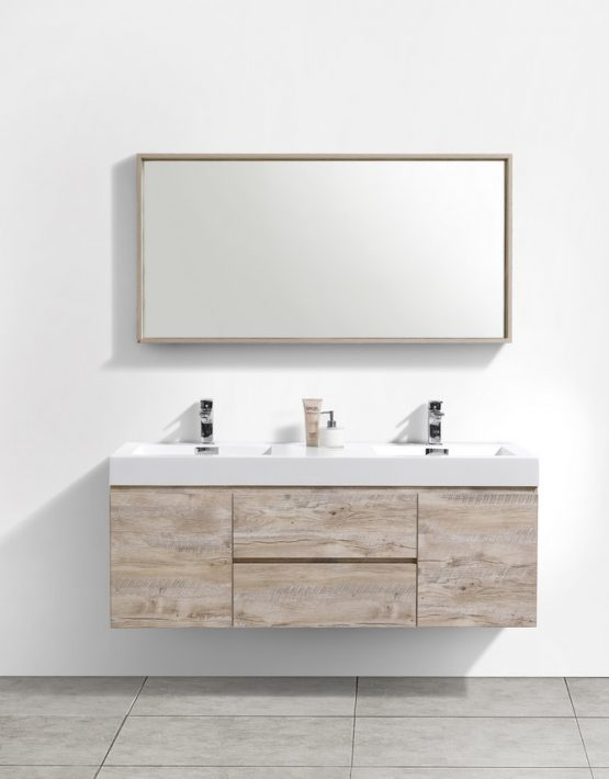 "Kubebath Bliss 60"" Double Sink Nature Wood Wall Mount Modern Bathroom Vanity"