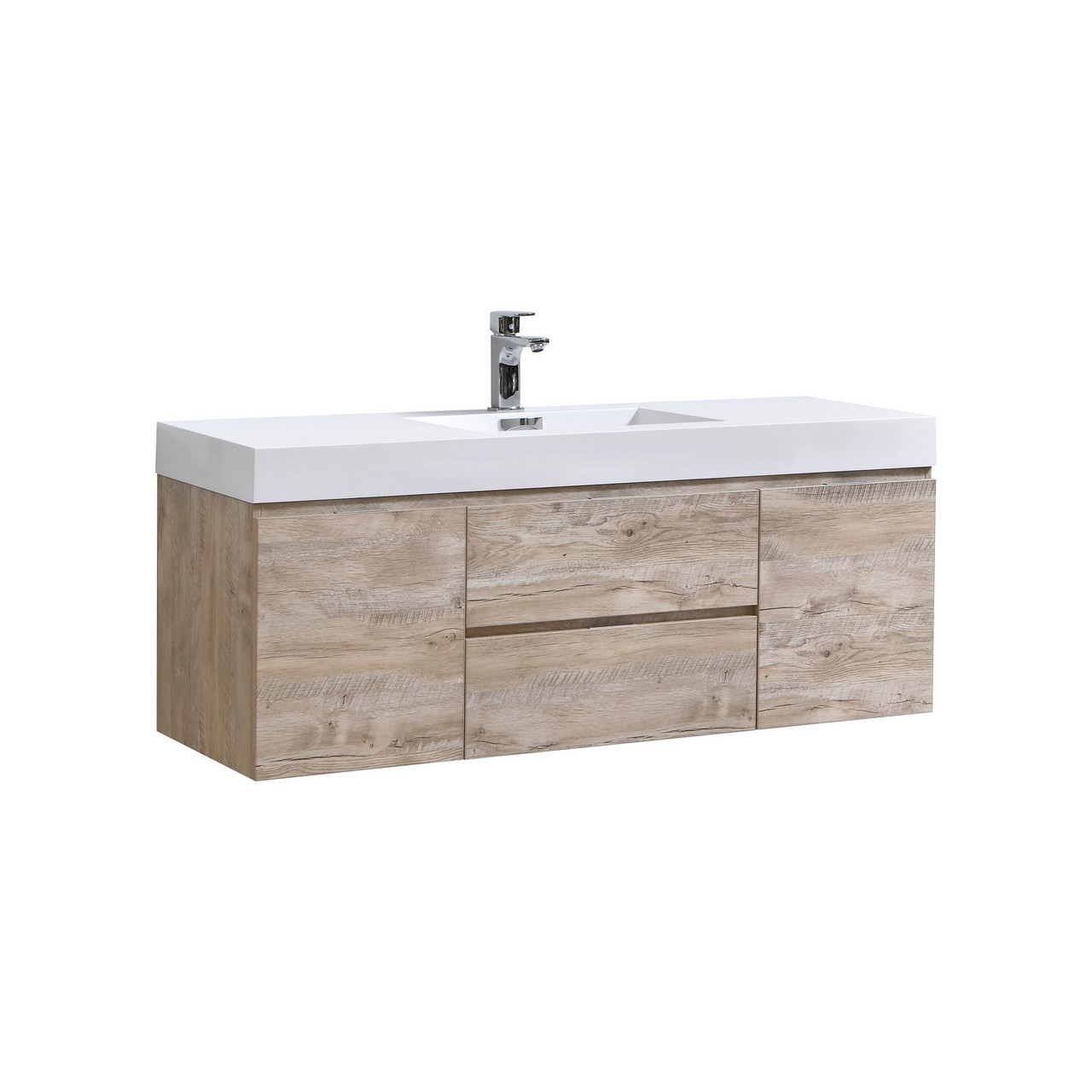 "Kubebath Bliss 60"" Single Sink Nature Wood Wall Mount Modern Bathroom Vanity"