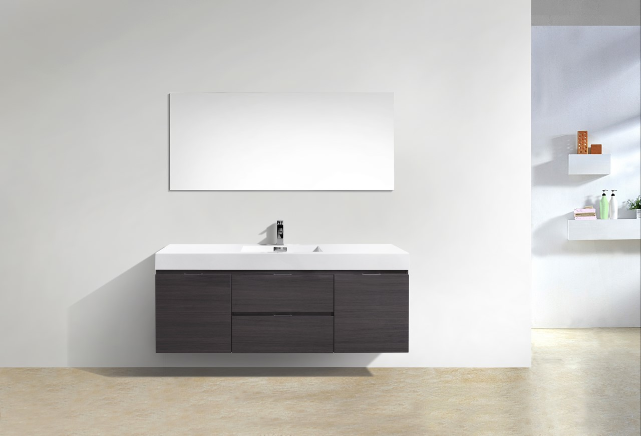 "Modern Lux 60"" Single Sink High Gloss Gray Oak Wall Mount Modern Bathroom Vanity"