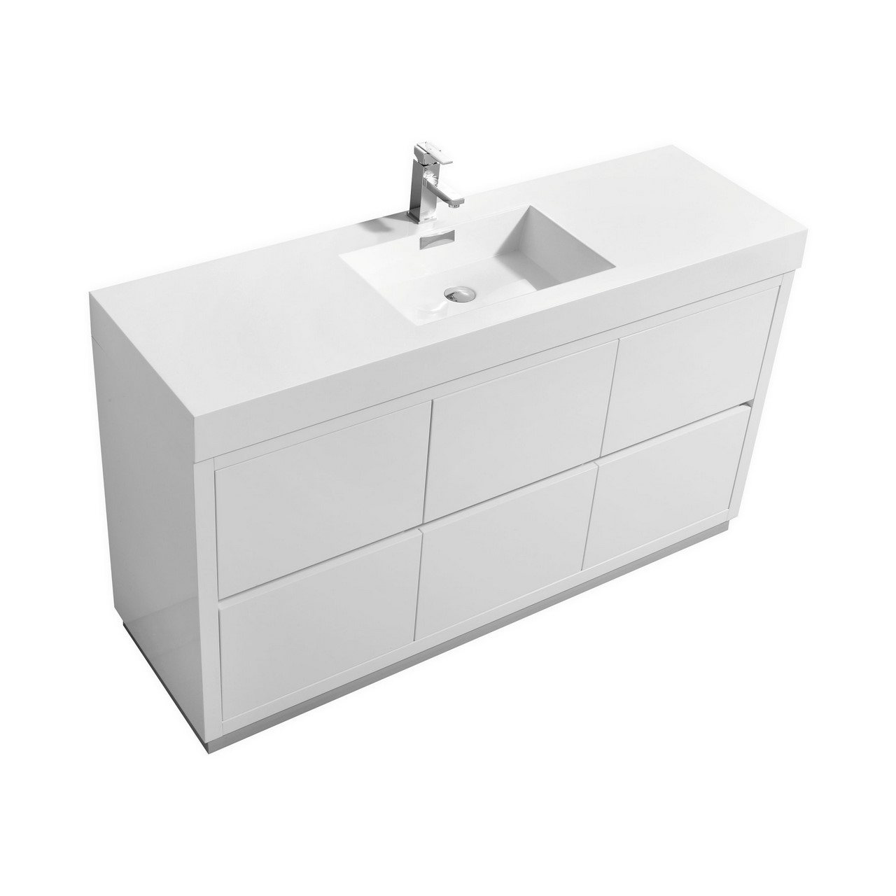 "Modern Lux 60"" Single Sink High Gloss White Free Standing Modern Bathroom Vanity"