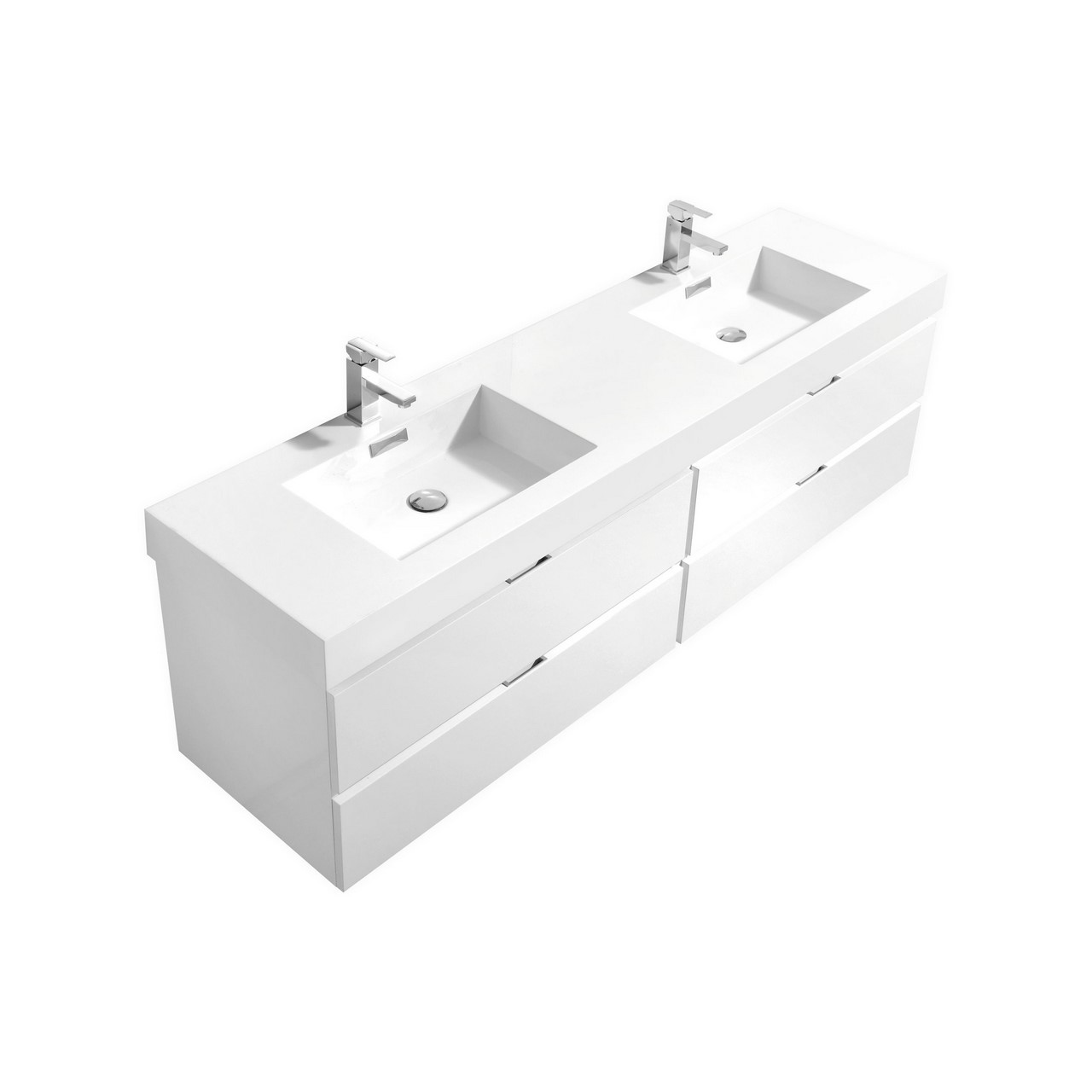 "Modern Lux 80"" Double Sink High Gloss White Wall Mount Modern Bathroom Vanity"