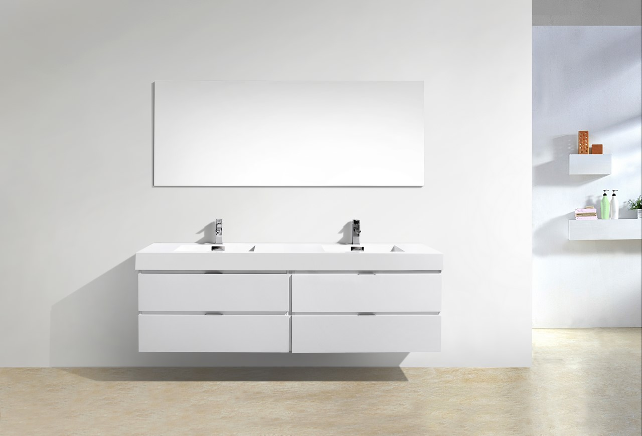 "Kubebath Bliss 72"" Double Sink High Gloss White Wall Mount Modern Bathroom Vanity"