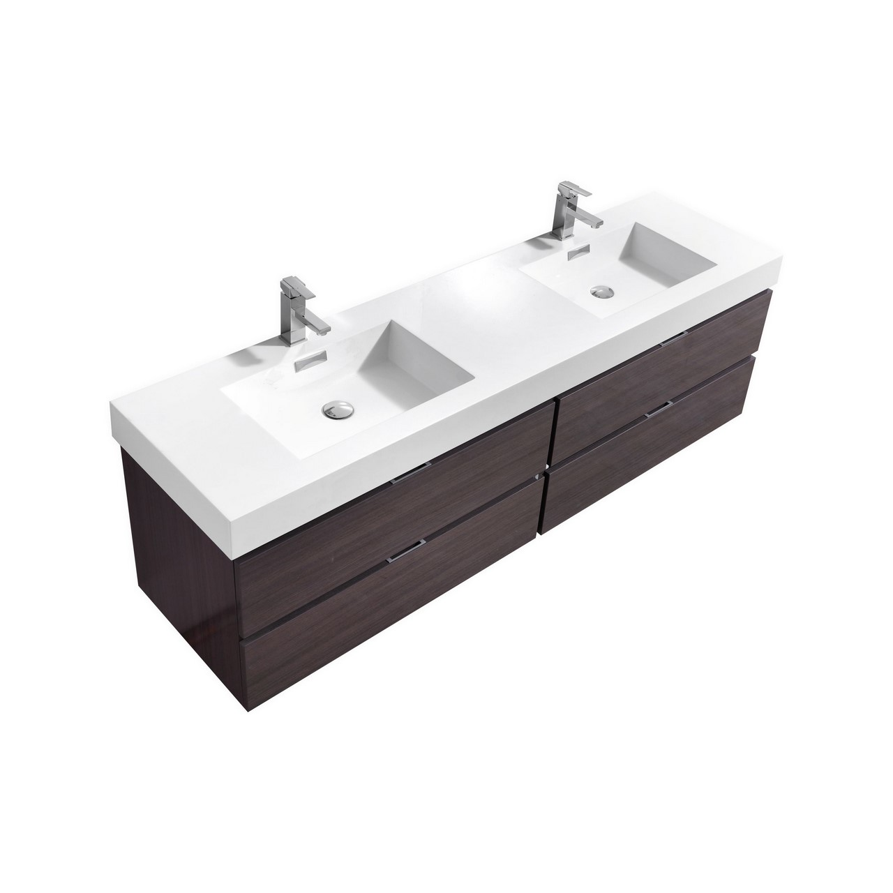 "Modern Lux 80"" Double Sink High Gloss Gray Oak Wall Mount Modern Bathroom Vanity"