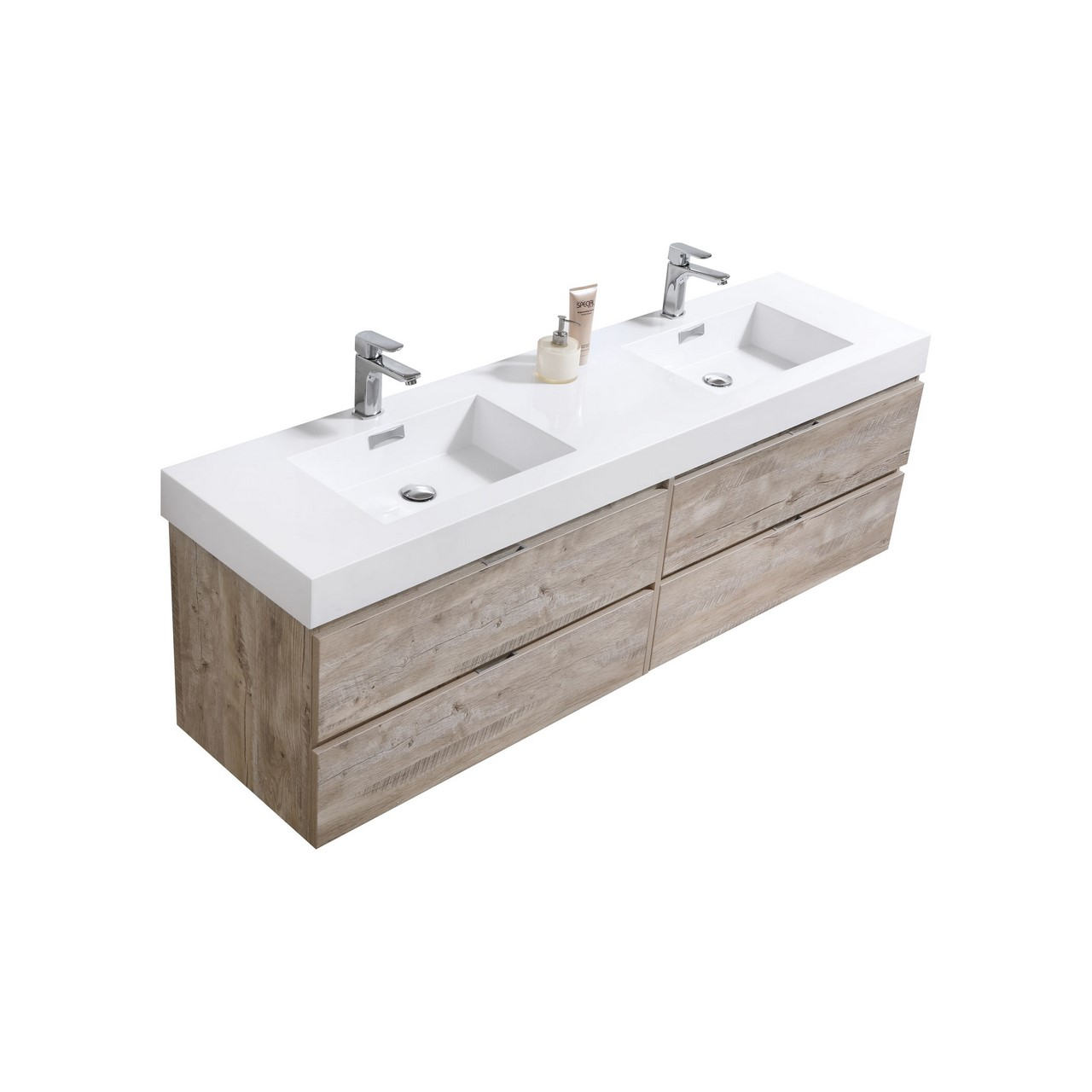 "Kubebath Bliss 72"" Double  Sink Nature Wood Wall Mount Modern Bathroom Vanity"