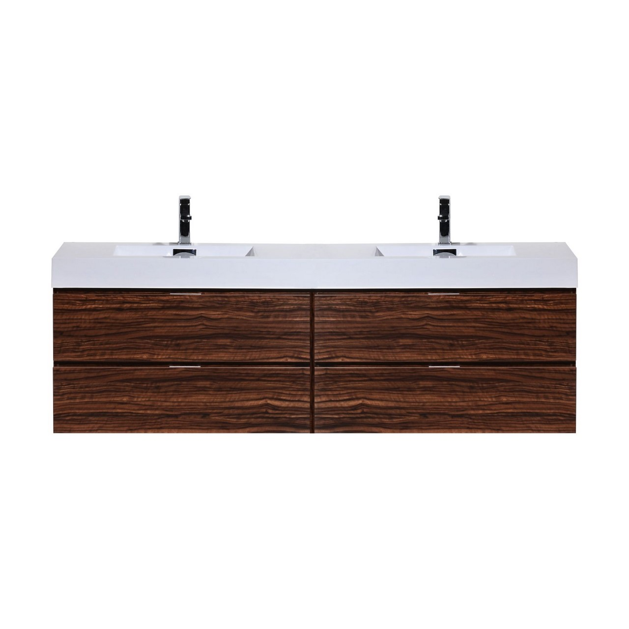 "Modern Lux 80"" Double Sink Walnut Wall Mount Modern Bathroom Vanity"