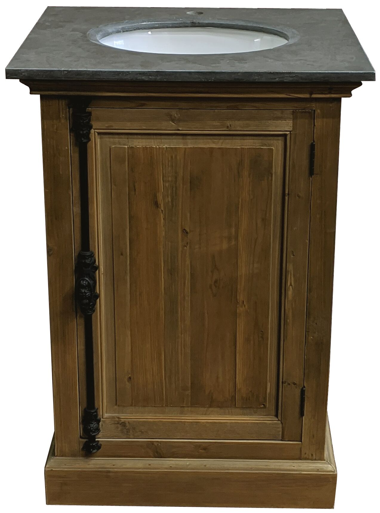 "26"" Reclaimed Pine Single Bathroom Vanity with Blue Stone Top Natural Finish"