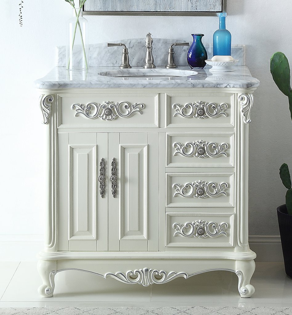 "Antique Style 36"" Collection White Bathroom Vanity"
