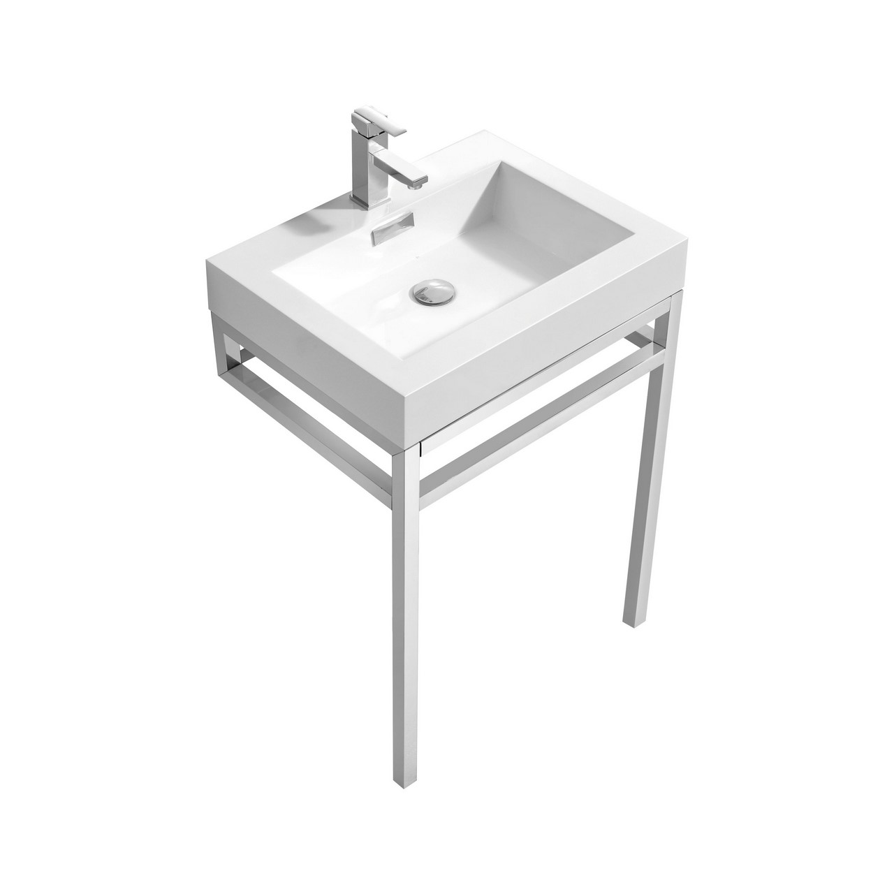 "Modern Lux 24"" Stainless Steel Console w/ White Acrylic Sink - Chrome"