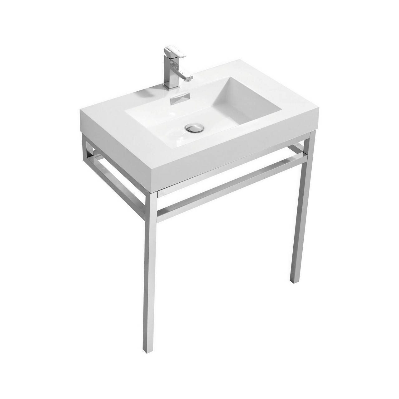 "Modern Lux 30"" Stainless Steel Console w/ White Acrylic Sink - Chrome"