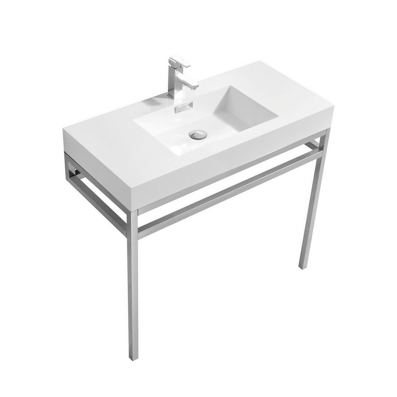 "Modern Lux 36"" Stainless Steel Console w/ White Acrylic Sink - Chrome"