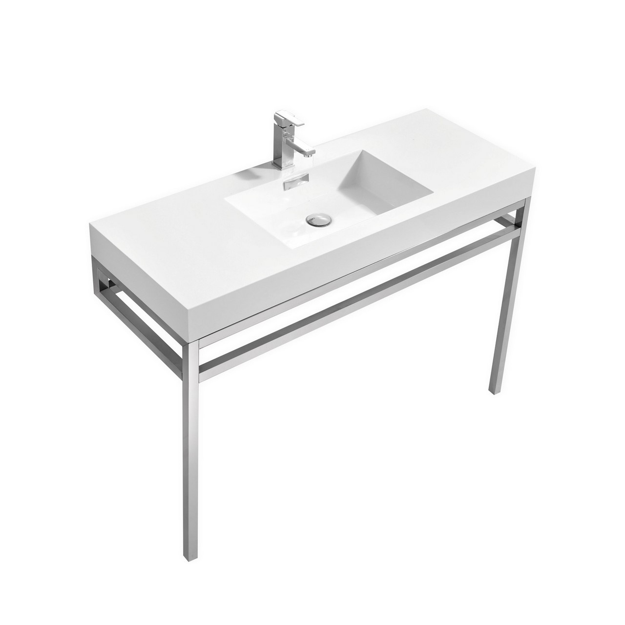 "Modern Lux 48"" Stainless Steel Console w/ White Acrylic Sink - Chrome"