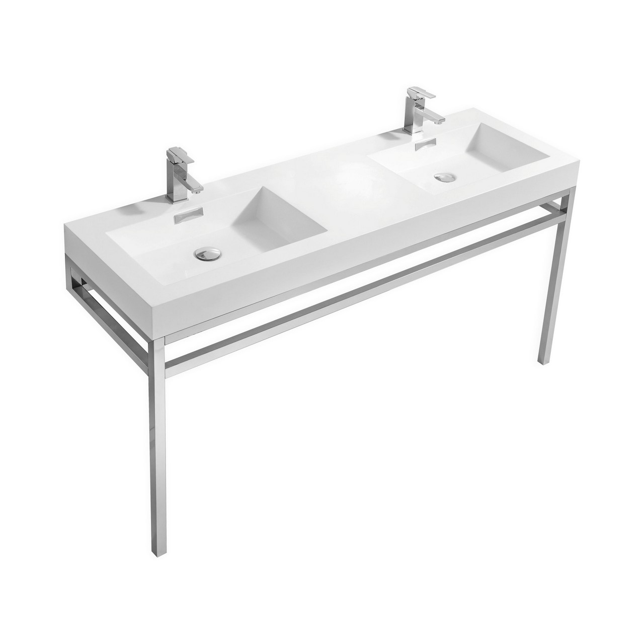 "Modern Lux 60"" Double Sink Stainless Steel Console w/ White Acrylic Sink - Chrome"