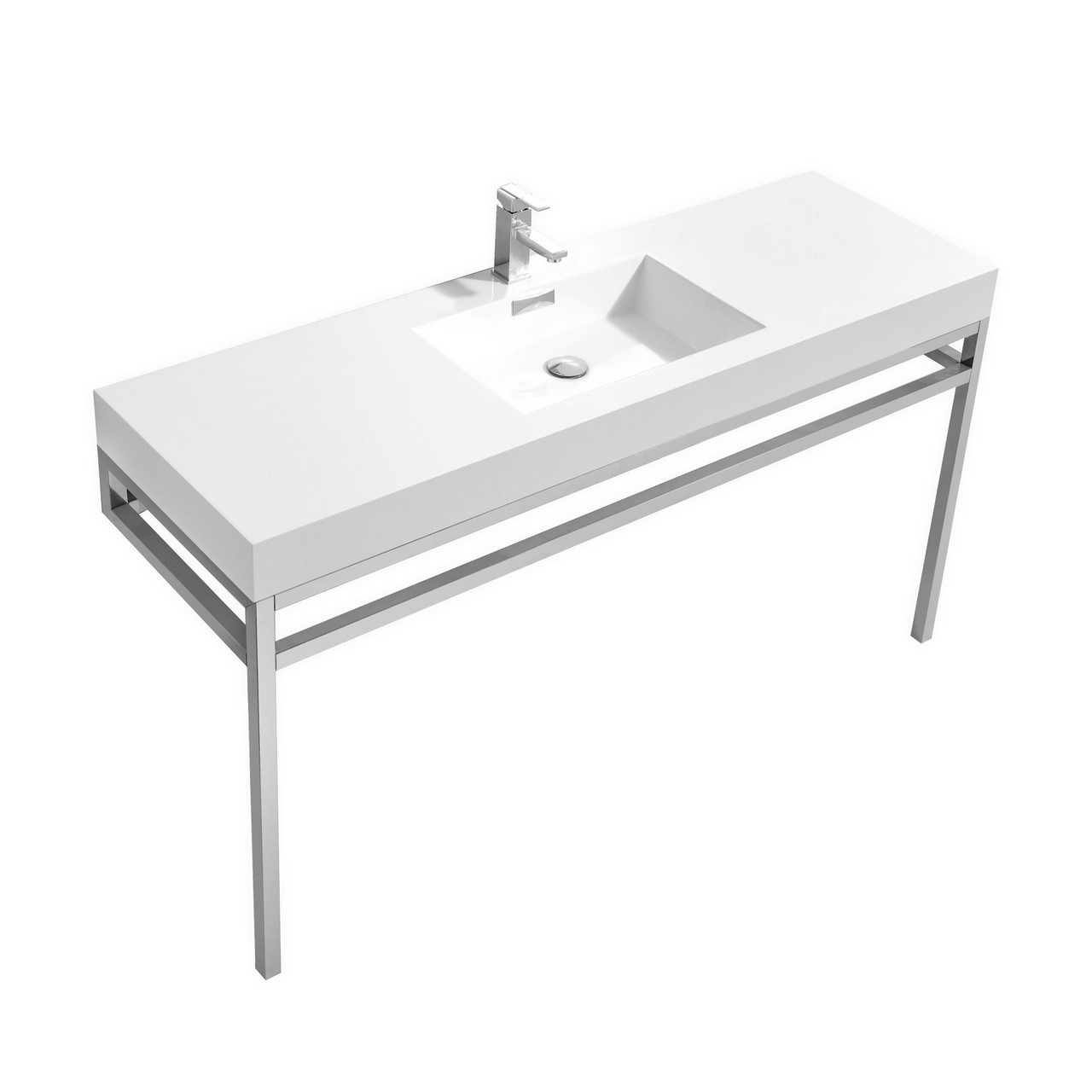 "Modern Lux 60"" Single Sink Stainless Steel Console w/ White Acrylic Sink - Chrome"