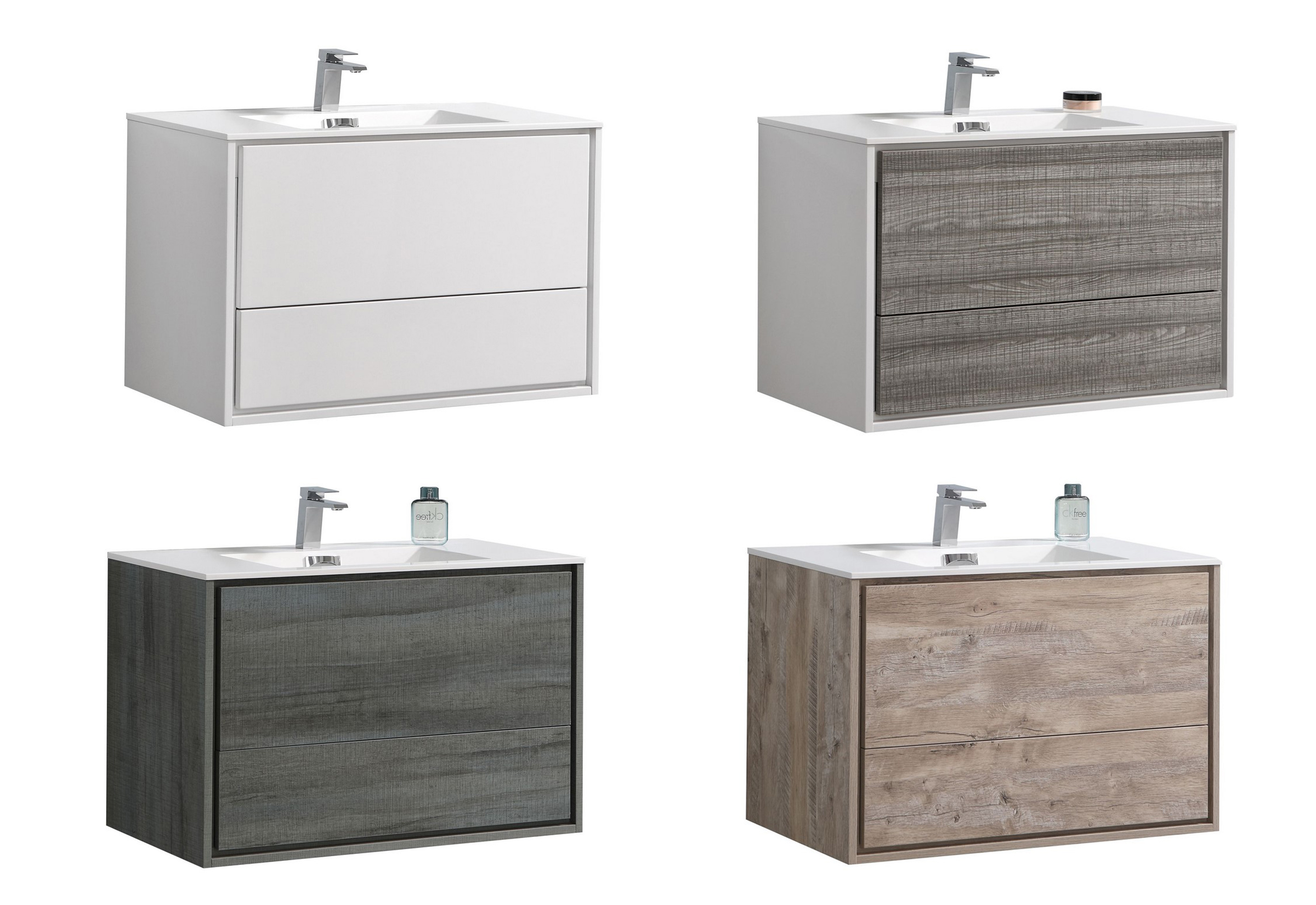 "Modern Lux 36"" Wall Mount Modern Bathroom Vanity with Color Options"