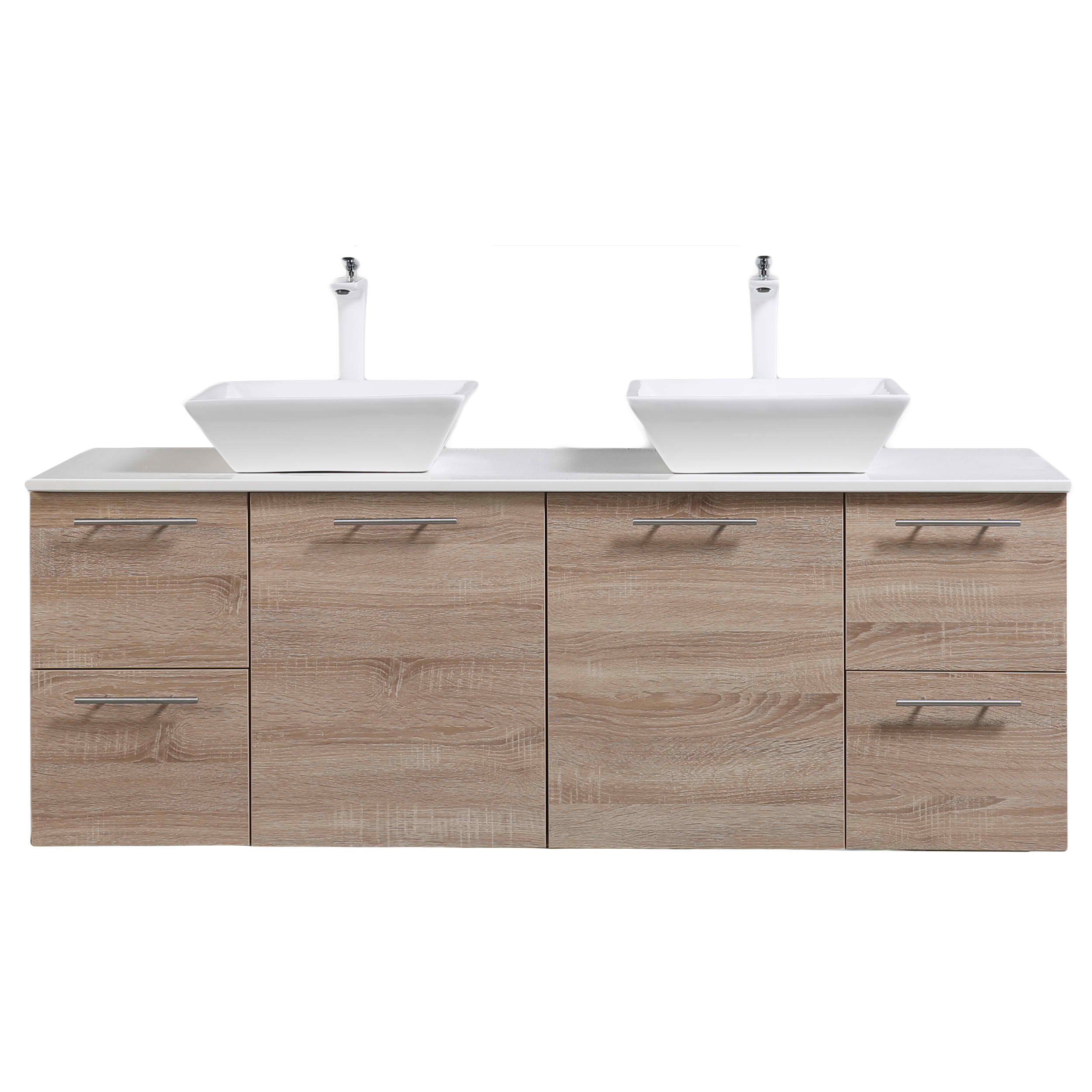 "Luxury 60"" White Oak Wall Mounted Bathroom Vanity with Glassos Top and Double Vessel Sinks"