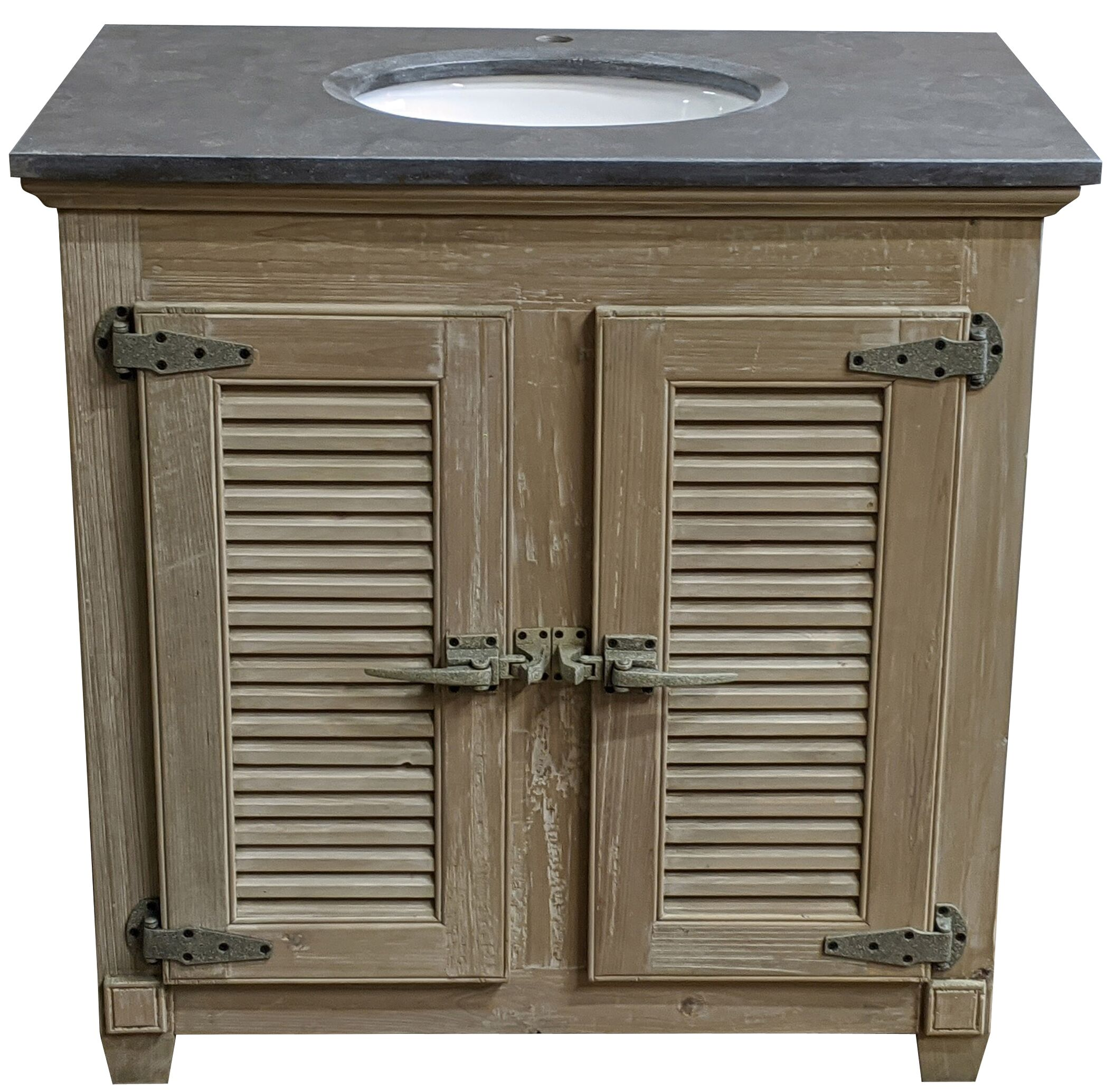 "36"" Reclaimed Pine Cooler Vanity Louvred Doors with Blue Stone Top Wash Finish"