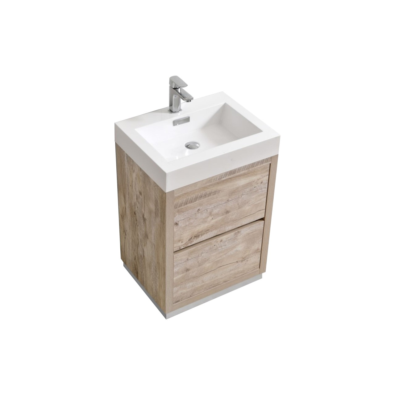 "Modern Lux 24"" Nature Wood Free Standing Modern Bathroom Vanity"