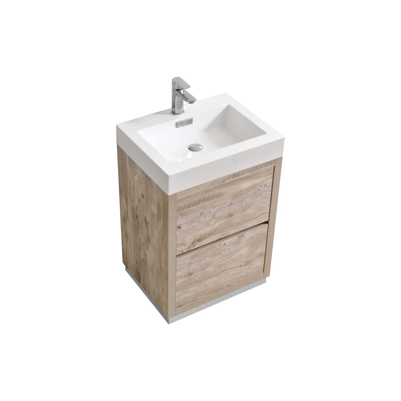 """Modern Lux 24"""" Nature Wood Free Standing Modern Bathroom Vanity"""