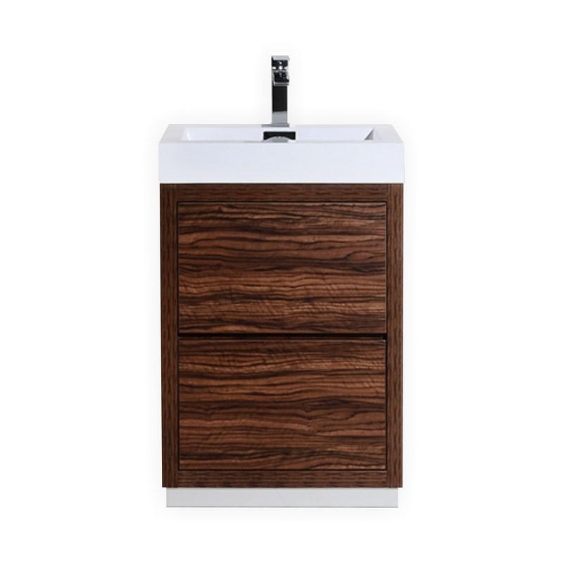 "Modern Lux 24"" Walnut Free Standing Modern Bathroom Vanity"