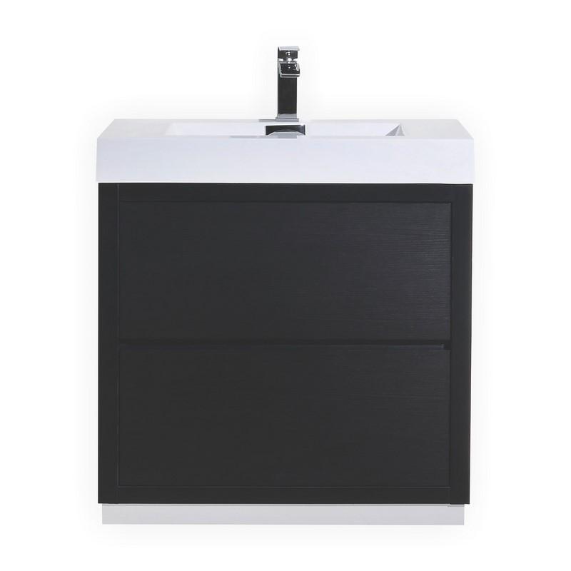"""Modern Lux 30"""" Black Free Standing Modern Bathroom Vanity"""