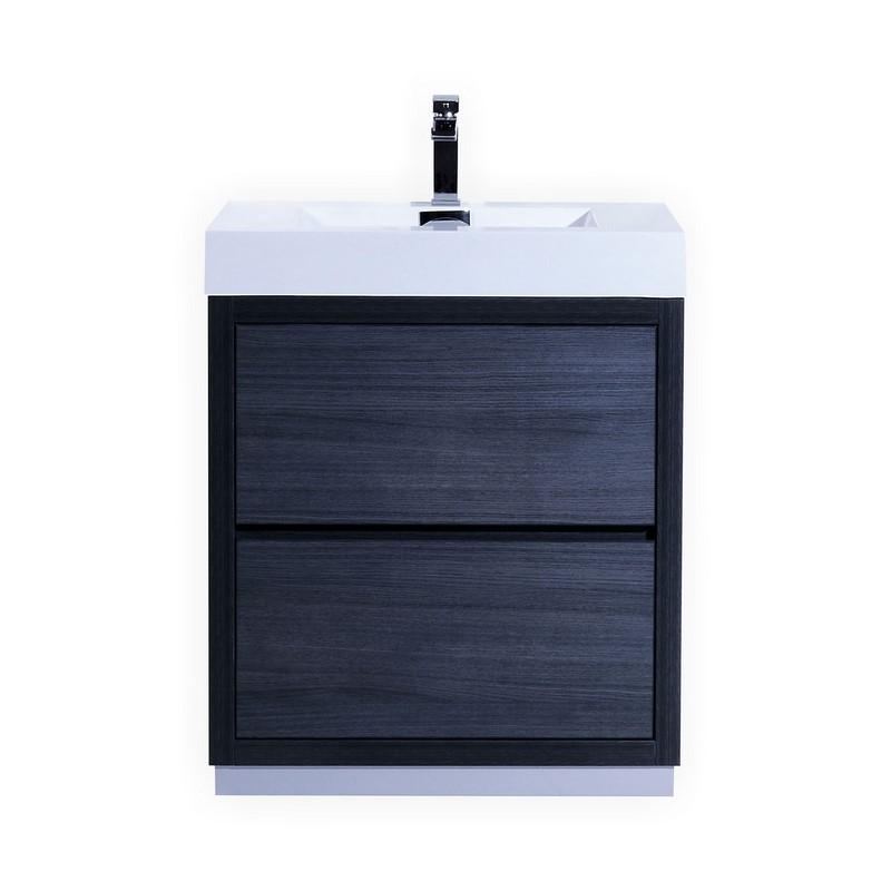 """Modern Lux 30"""" Gray Oak Free Standing Modern Bathroom Vanity"""